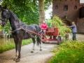 Paard en wagen halen hooi uit de stad